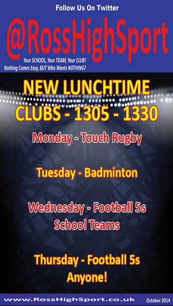 @RossHighSport Lunchtime Clubs