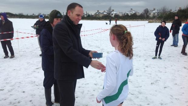 Under-13 Girls winner with Cllr Tim Day